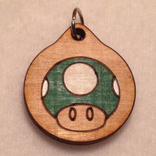 Green Mario Mushroom Wooden Necklace and Pendant