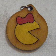 Mrs. Pac-Man Wooden Necklace and Pendant