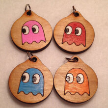 Pac-Man Ghost Group Wooden Necklaces and Pendants