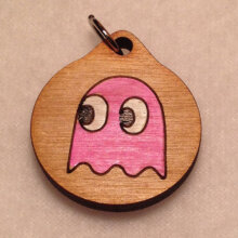 Pink Pac-Man Ghost Wooden Necklace and Pendant