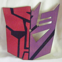 Half Autobot Half Decepticon Symbol Art Insert for Build-A-Clocks