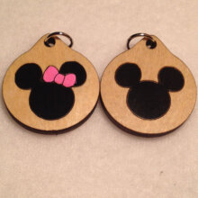 Mickey and Minnie Mouse Wood Necklaces and Pendants