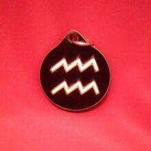 Aquarius Zodiac Symbol Wooden Necklace and Pendant