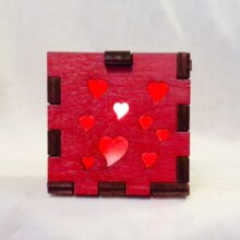 Hearts LED Gift Box red