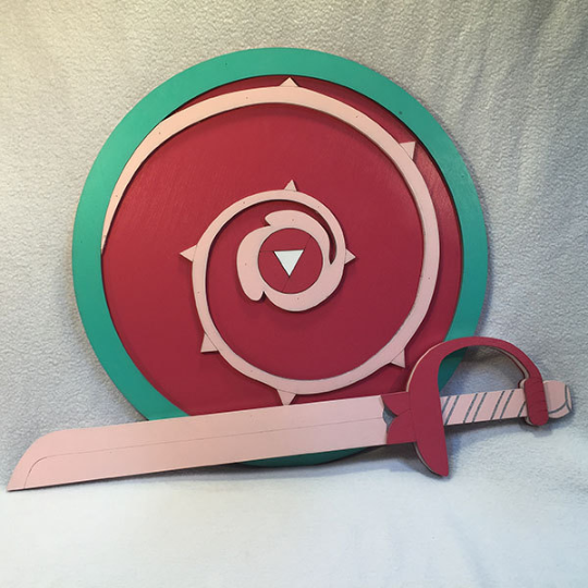 "Steven Universe Rose Quartz Symbol: Rose Quartz Sword 23"" And Shield 17"" Replica Set"