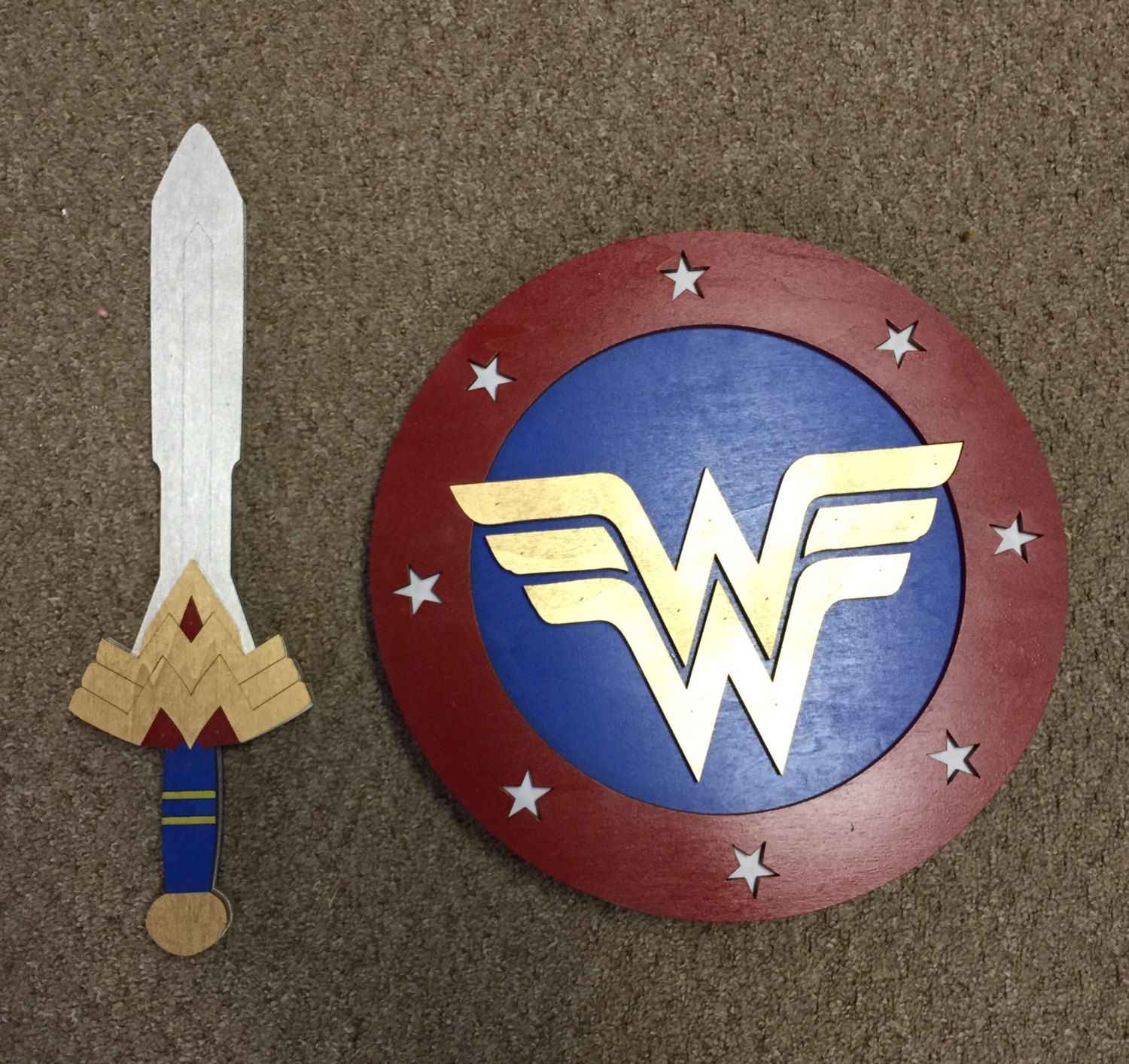 Kids Costume Size Set of Wonder Woman Sword and Shield w/ optional backpack  straps