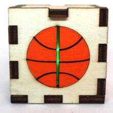 Basketball Sports Wood Lit Green LED Tea Light