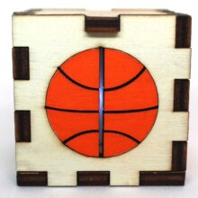 Basketball Sports Wood Lit White LED Tea Light