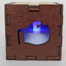 Boxing Sports Wood Lit Blue LED Tea Light