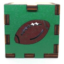 Football Sports Wood Lit White LED Tea Light