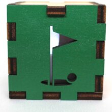 Golf Sports Wood Lit White LED Tea Light