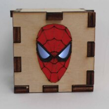 Spiderman Symbol Wood Lit White LED Tea Light