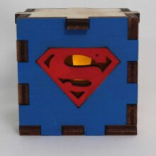 Superman Symbol Wood Lit Yellow LED Tea Light