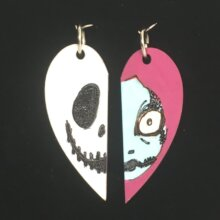 Nightmare Before Christmas Wood Heart Necklaces and Pendants of Jack Skellington and Sally