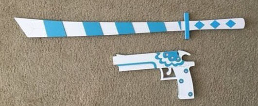 Katana Stripe Sword and Gun Blacklace from Panty and Stocking with Garterbelt