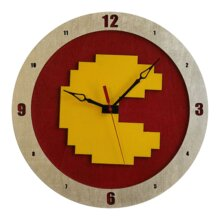 8Bit Pacman Clock on Red Background