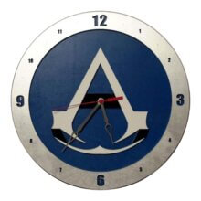 Assassin Creed Clock on Blue Background
