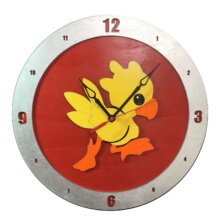Chocobo Clock on Red Background