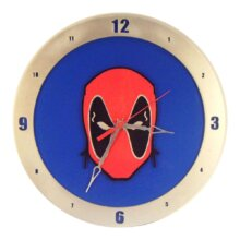 Deadpool Clock on Blue background