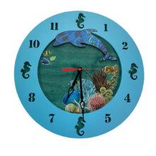 3D Dolphin Wall Clock in Ocean Scenery