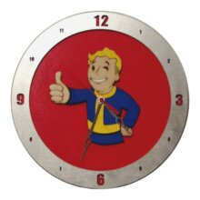 Fallout Vault Boy Clock on Red Background