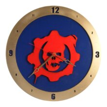 Gears of War Clock on Blue Background