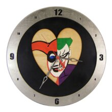 Harley Quinn and Joker Heart Clock on Black background