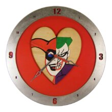 Harley Quinn and Joker Heart Clock on Red background