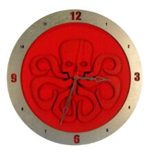 Hydra on Red Background Clock
