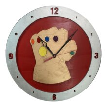Infinity Gauntlet Clock on Red background