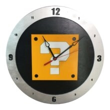 Mario Question Clock on Black Background