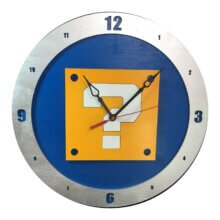 Mario Question Clock on Blue Background