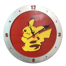 Pikachu Clock on Red Background