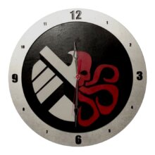 Shield-Hydra Clock on Black background