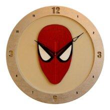Spiderman on Beige Background Clock