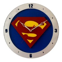 Superman Clock on Blue background
