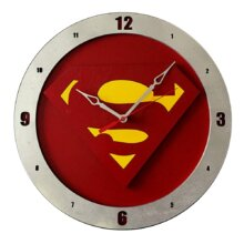 Superman Clock on Red background