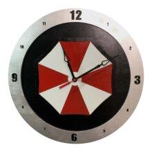 Umbrella Corp Clock on Black Background