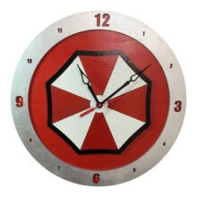 Umbrella Corp Clock on Red Background