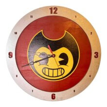 Bendy and the Ink Machine Clock on red background