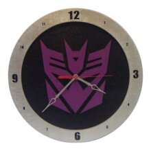 Decepticon Transformer Clock on Black Background