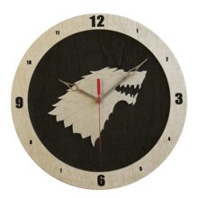 Dire Wolf Game of Thrones  Clock on Black Background