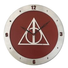 Hallows Harry Potter Clock on Red Background