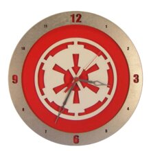Star Wars Imperial Clock on Red Background