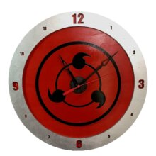 Sharingan Clock on Red Background