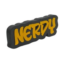 Nerdy Graffiti style free standing block words side view