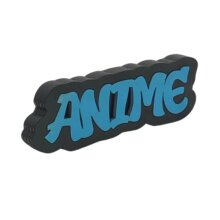 Anime Graffiti style free standing block words side view